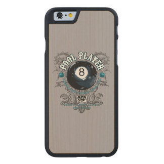 Pool Player Filigree 8-Ball Carved Maple iPhone 6 Case