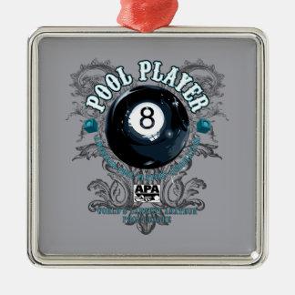 Pool Player Filigree 8-Ball Christmas Ornament