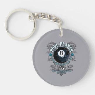 Pool Player Filigree 8-Ball Key Ring