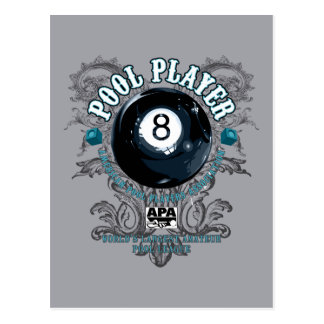 Pool Player Filigree 8-Ball Postcard