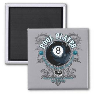 Pool Player Filigree 8-Ball Square Magnet