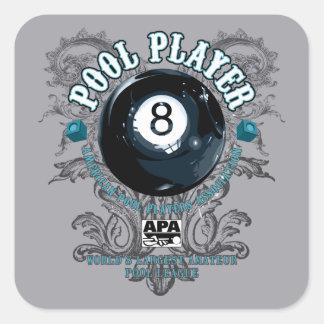 Pool Player Filigree 8-Ball Square Sticker
