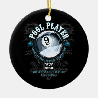 Pool Player Filigree 9-Ball Christmas Ornament