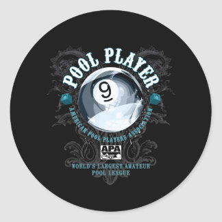 Pool Player Filigree 9-Ball Classic Round Sticker