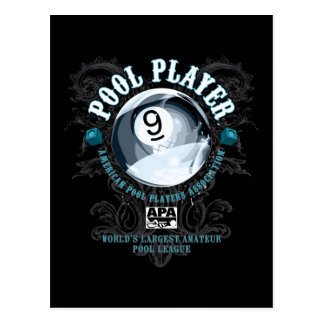 Pool Player Filigree 9-Ball Postcard