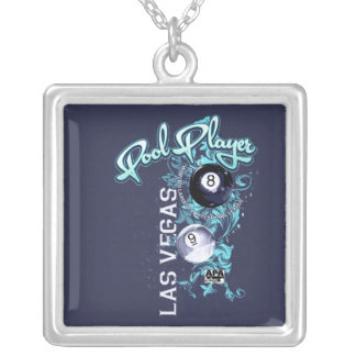 Pool Player Filigree Silver Plated Necklace