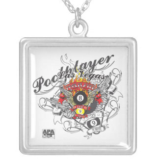 Pool Player For Life Silver Plated Necklace