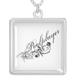 Pool Player Script Silver Plated Necklace
