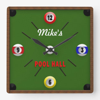 POOL ROOM/HALL CLOCK - PERSONALIZE WITH NAME