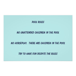 Pool Rules Poster