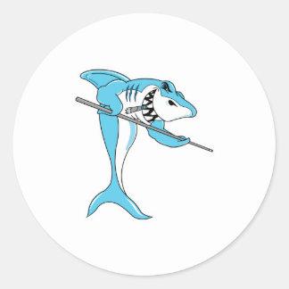 pool shark round sticker