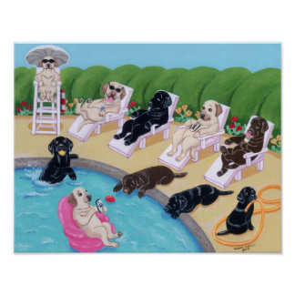 Pool Side Party Labradors Artwork Poster