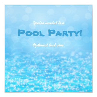 Pool Swim Sparkling Water Beach Party Invitation