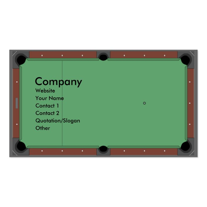 Pool Table Pack Of Standard Business Cards