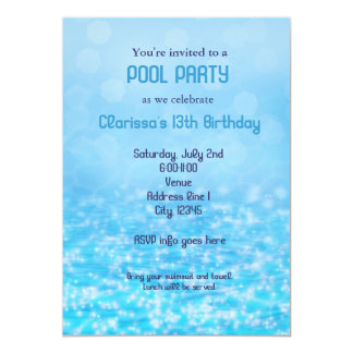 Pool Water Swim Swimming Summer Beach Party Card