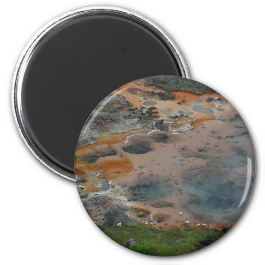 Pools Yellowstone Hydrothermal Colours Artists 6 Cm Round Magnet