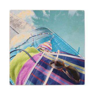 Poolside Accoutrements Maple Wood Coaster