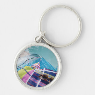 Poolside Accoutrements Silver-Colored Round Key Ring