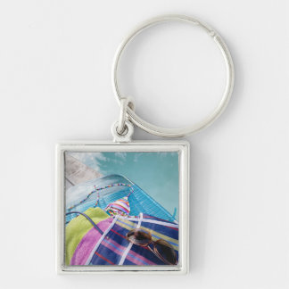 Poolside Accoutrements Silver-Colored Square Key Ring