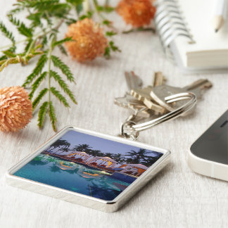 Poolside at Dawn Silver-Colored Square Key Ring