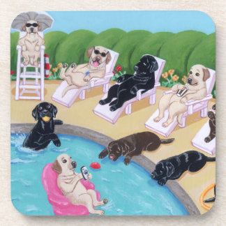 Poolside Party Labradors Painting Coaster