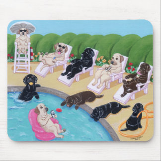 Poolside Party Labradors Painting Mouse Mat