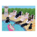 Poolside Party Labradors Painting Postcard