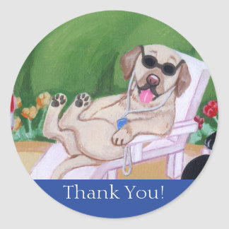 Poolside Party Labradors Painting Round Sticker