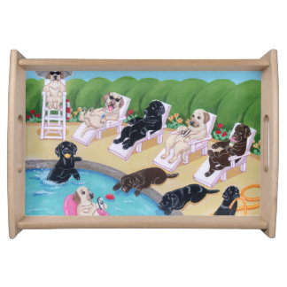 Poolside Party Labradors Painting Serving Tray