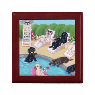 Poolside Party Labradors Painting Small Square Gift Box