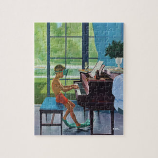 Poolside Piano Practice Jigsaw Puzzle