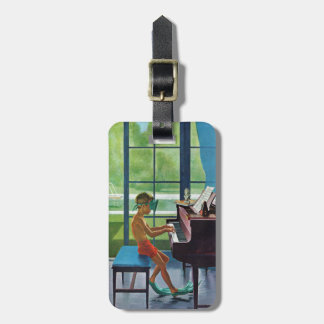 Poolside Piano Practice Luggage Tag
