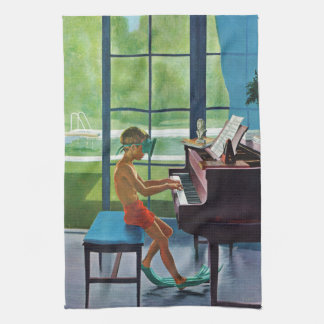 Poolside Piano Practice Tea Towel