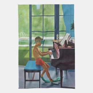 Poolside Piano Practice Tea Towel