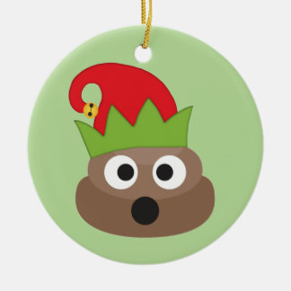 Poop Emoji Elf Christmas Ornament