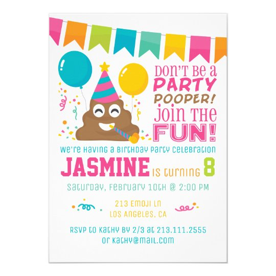 Poop Emoji Funny Birthday Party Invitation Zazzle Co Uk