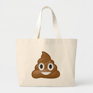 Poop emoji large tote bag