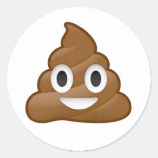 Poop emoji round sticker
