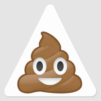 Poop emoji triangle sticker