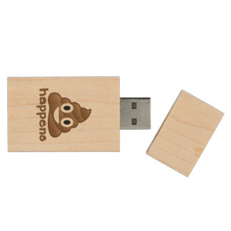 Poop Happens Emoji Wood USB 2.0 Flash Drive