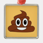Poop smiley Silver-Colored square decoration