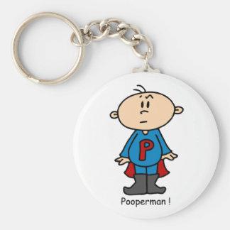Pooperman Baby Basic Round Button Key Ring