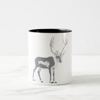 Pooping reindeer Two-Tone coffee mug