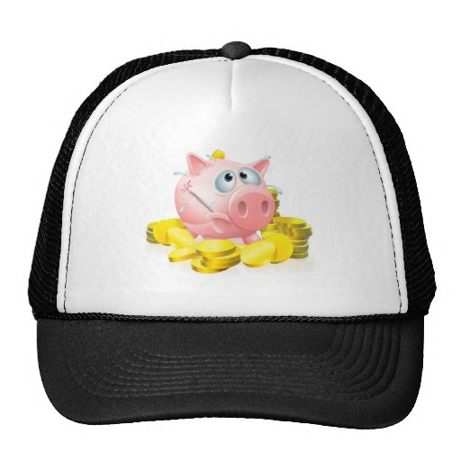 Poorly piggy bank concept hat