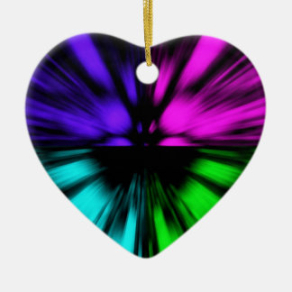 Pop Art abstract four colours. Warp drive space Ceramic Heart Decoration