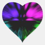 Pop Art abstract four colours. Warp drive space Heart Sticker