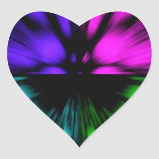 Pop Art abstract four colours. Warp drive space Heart Sticker
