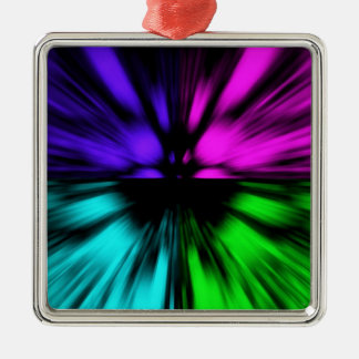 Pop Art abstract four colours. Warp drive space Silver-Colored Square Decoration