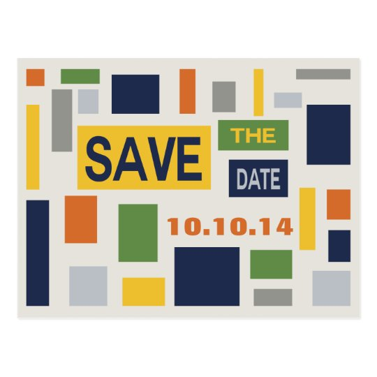 Pop Art Abstract Save The Date Postcard -