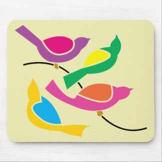 Pop Art Abstract Song Birds Mouse Mat